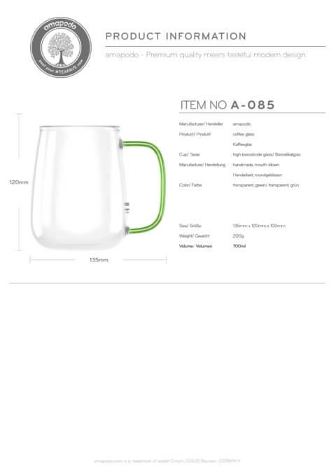 amapodo Kaffeetasse groß aus Glas Henkel Grün 700ml Produkt-Datenblatt