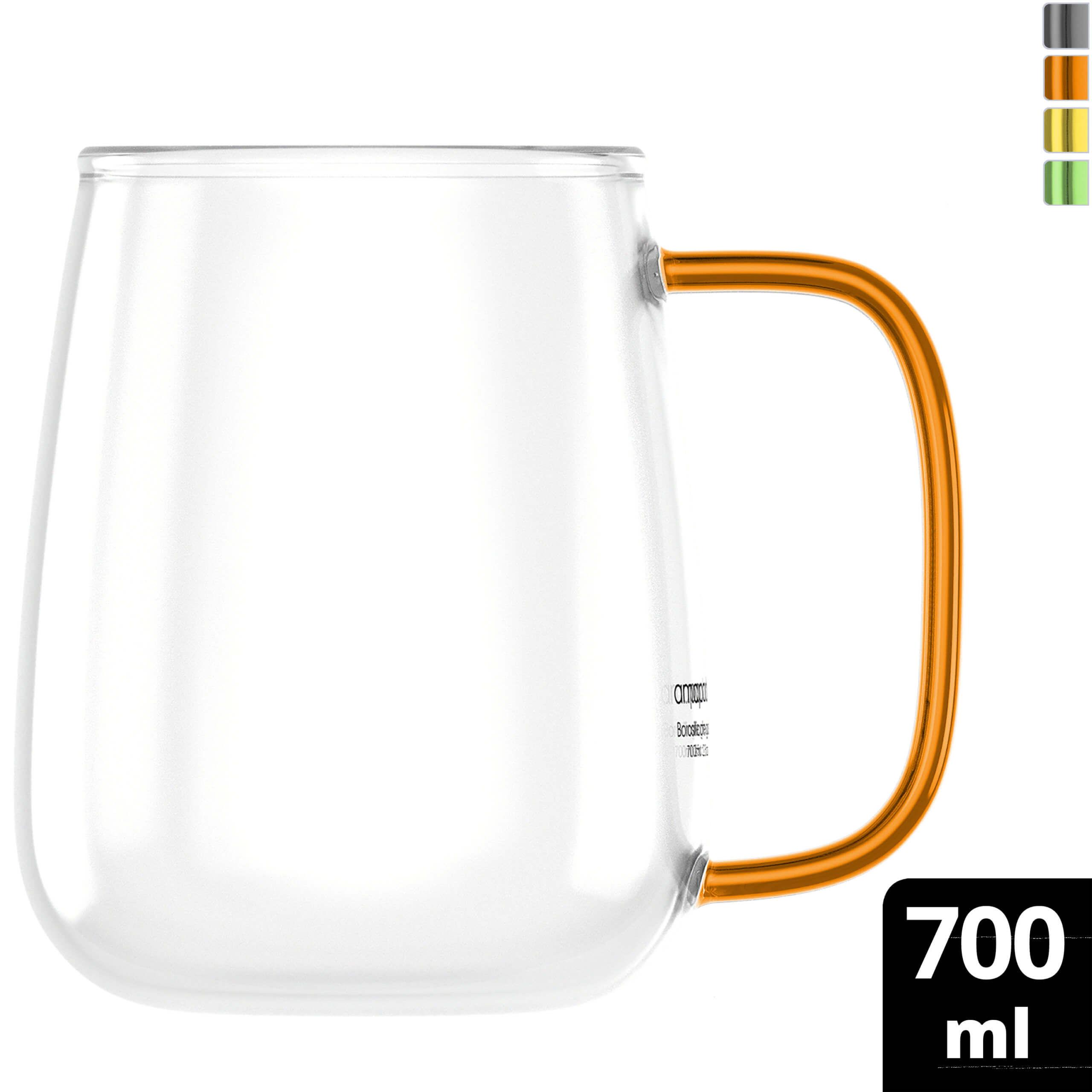 amapodo Kaffeetasse groß aus Glas mit Henkel Orange 700ml Kaffeeglas plastikfrei Geschenke für Frauen Männer