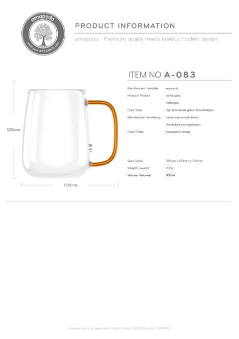 amapodo Kaffeetasse groß aus Glas Henkel Orange 700ml Produkt-Datenblatt