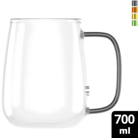amapodo Kaffeetasse groß aus Glas Henkel Schwarz 700ml vorn