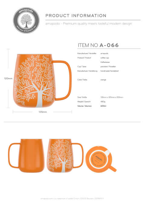 amapodo Tasse mit Henkel Orange 600ml Produkt-Datenblatt